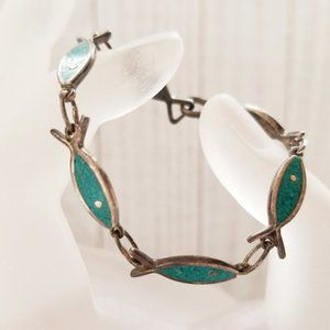 Vintage Mexico Turquoise Chip Inlay Fish Link 925